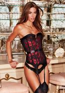 Satin And Lace Corset Red/blk L
